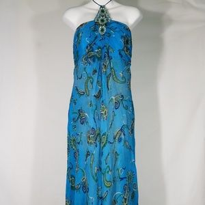 blue paisley layered silk halter dress size 10